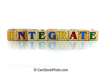 integrate - integrate colorful wooden word block on the...