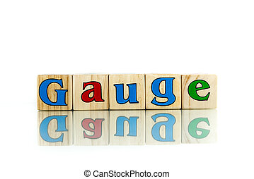 gauge colorful wooden word block on the white background