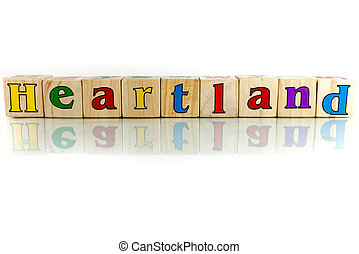 heartland colorful wooden word block on the white background...