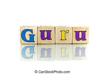 guru colorful wooden word block on the white background
