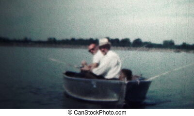 1959 - Men Fishing Lake In Boat - Original vintage 8mm home...