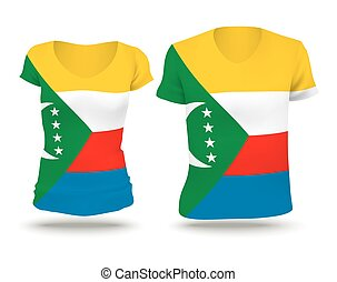 Flag shirt design of Comoros - vector illustration