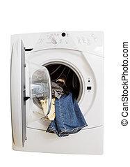 Washing machine - Isolated washing machine on white...