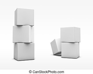Stack of white cubes on the background. - Stack of white...
