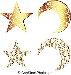 Crescent Moon and Star Symbols - Decorative crescent moon...