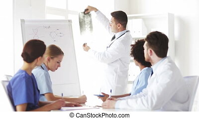 group of doctors looking at x-ray in  hospital