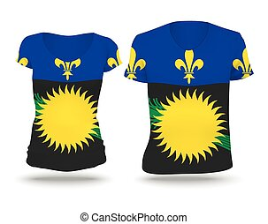 Flag shirt design of Guadeloupe - vector illustration