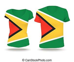 Flag shirt design of Guyana - vector illustration