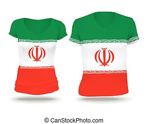 Flag shirt design of Iran - vector illustration