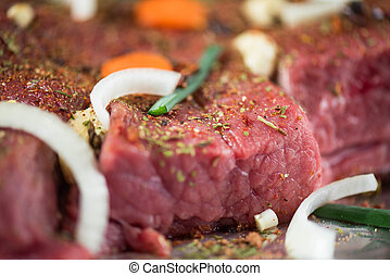 beef meat - Raw beef meat seasoned and ready to cooked
