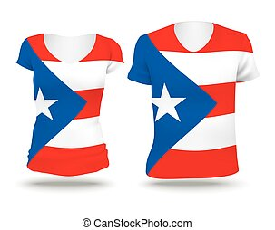 Flag shirt design of Puerto Rico - vector illustration