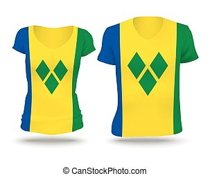 Flag shirt design of Saint Vincent and the Grenadines -...