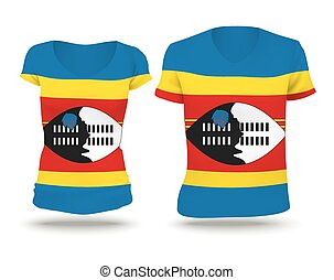 Flag shirt design of Swaziland