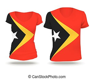 Flag shirt design of Timor-Leste - vector illustration
