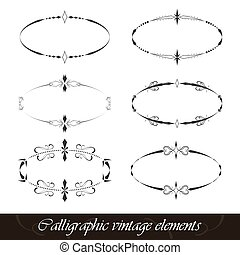 Set of calligraphic vintage elements - Set of calligraphic...