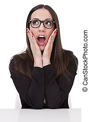 business woman with expression of surprise