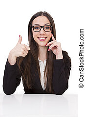 Business woman with ok gesture