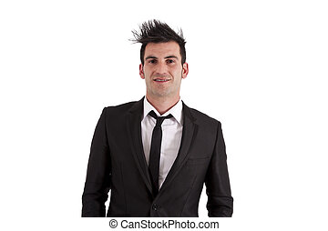 man with black suit isolated