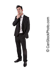 man with black suit thinking