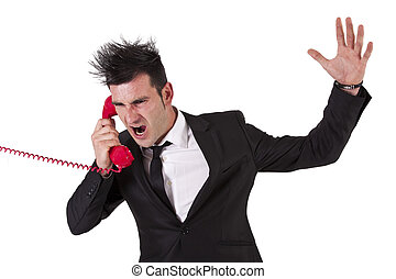 man in suit yelling on the phone