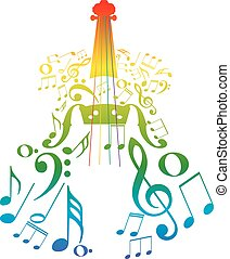 Violin with Notes - Creative violin silhouette with music...