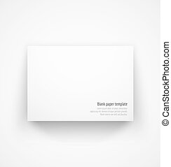 White horizontal paper template mock-up with drop shadow...