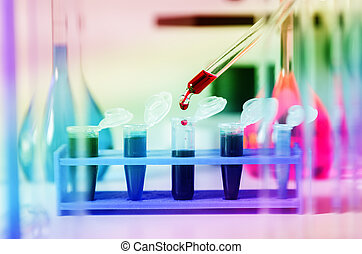 Blood samples for research in microtubes - Pipette with drop...