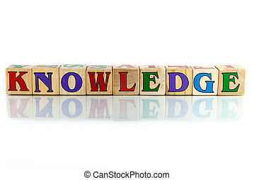 knowledge colorful wooden word block on the white background...