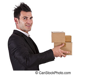 businessman with cardboard boxes