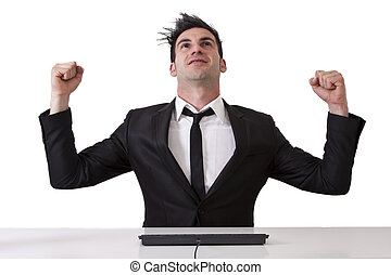 Victorious businessman in office