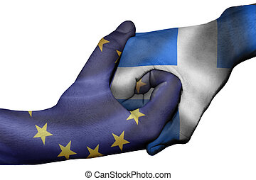 Handshake between European Unionand Greece - Diplomatic...