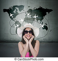 girl choosing holiday destination