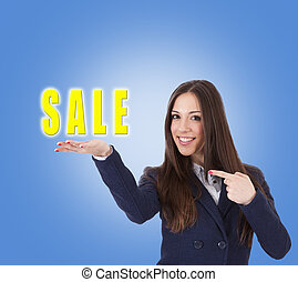 business woman with the poster of sale
