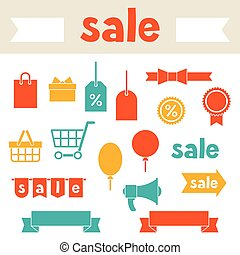 Sale and shopping icons various design elements