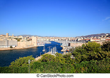 Aerial view of Marseille City and harbor - an aerial view of...