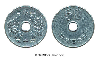 50 japanese yen coin isolated on white with clipping path