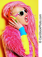 singing star - Glamorous modern DJ girl wearing bright...