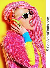 singing star - Glamorous modern DJ girl wearing bright...