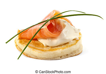 Smoked Salmon Blini - Blini with smoked salmon and sour...