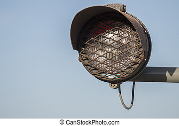 warning light at the train station - Detail view of a...
