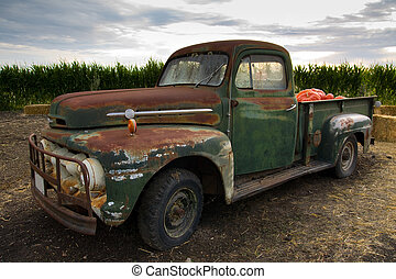Rusty old classic truck - Rusty old truck fit with pumpkin...