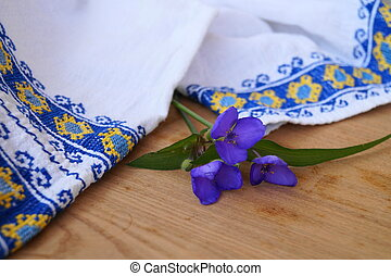 Blue flower and serviette - Blue flower and romanian...