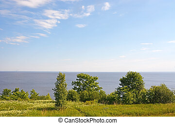 View from the village Korostyn on the Great Lakes Ilmen