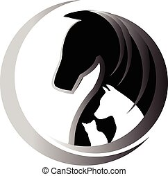 Horse cat and dog logo