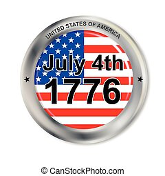 July 4 Button - A United States of America button with flag...