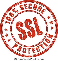 Ssl secure protection stamp on white background