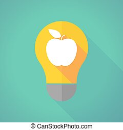 long shadow light bulb with an apple