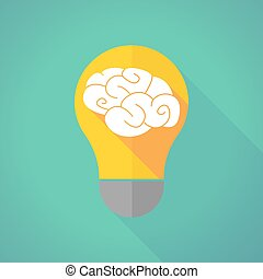 long shadow light bulb with a brain - Illustration of a long...