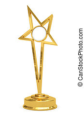 Golden star prize on pedestal with blank round plate
