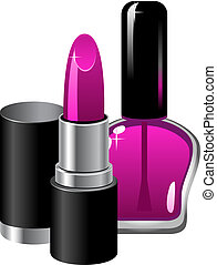 Lipstick and nail polish. Isolated. EPS 8, AI, JPEG